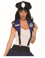 Police Officer Collar Blue Suspenders w Badge Cop Women's Costume Accessory