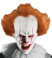 Pennywise IT Movie Wig With Attached Headpiece Red Make-up Stick Adult Accessory