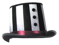 Mystery Circus Black & White Top Hat Halloween Costume Accessory Prop Adult Mens