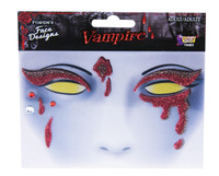 Halloween Bloody Vampire Face Art Sticker Design Adult Costume Accessory Facial