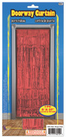 """Metallic Red Foil Doorway Tinsel Curtain Backdrop 1 pc. 8ft x 37"""" Decoration"""