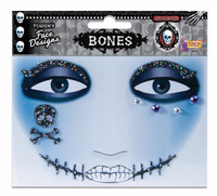 Halloween Monster Bones Face Art Sticker Design Adult Costume Accessory Facial