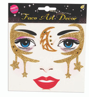 Gold Celestial Face Art Design Adult Facial Moon Stars Costume Accessory