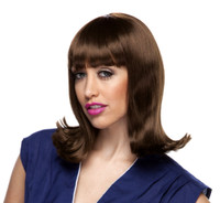 Peggy Sue Brown Pageboy Wig 50s 60s Long Bob Womens Ladies Costume Accessory