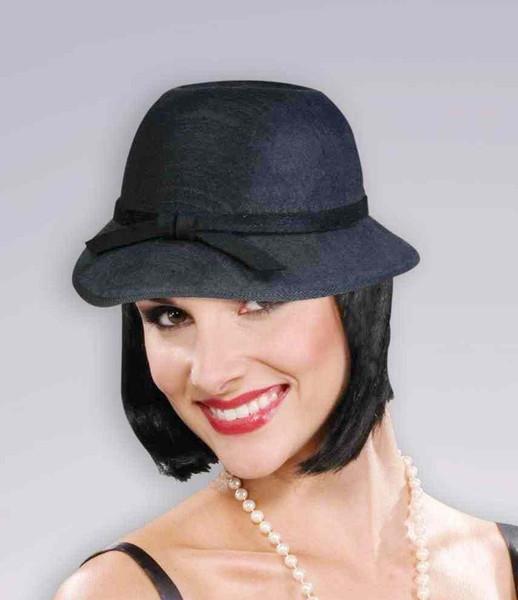 Black Felt Cloche Hat Flapper 20/'s Fancy Dress Halloween Adult Costume Accessory