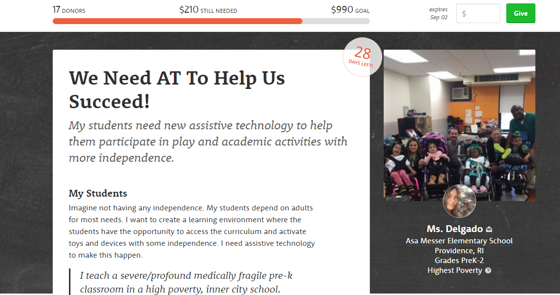 Secondipity Donates to DonorsChoose