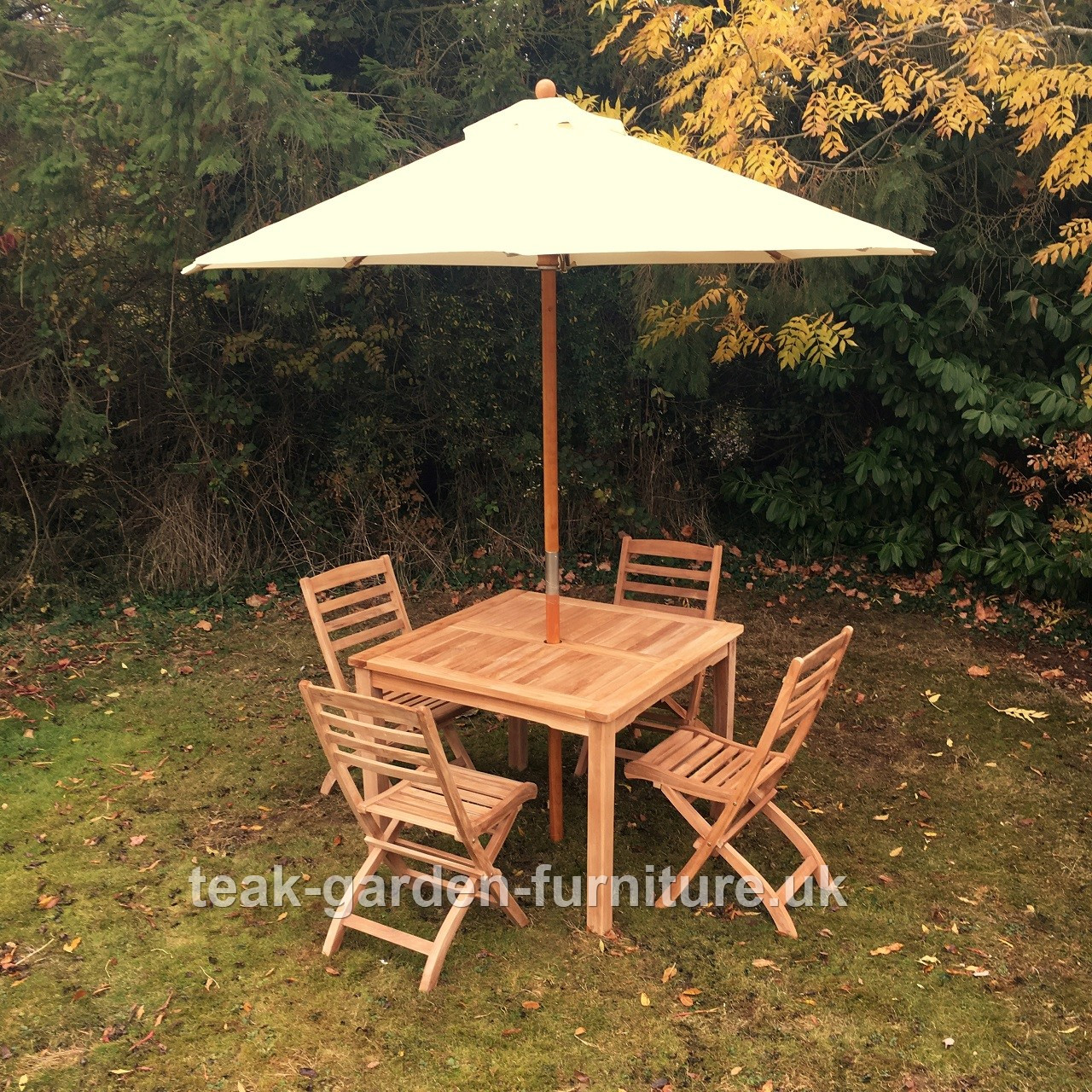 Side Table 100 Cm.Square Fixed Table 100cm X 100cm With 4 Folding Side Chairs And 2 5m Parasol
