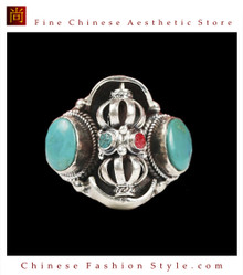Fine Tibetan Turquoise Coral Gemstone Jewelry 925 Silver Ring 100% Handcraft #110