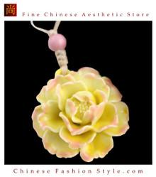 Deluxe Porcelain Pendant Necklace Jewelry 100% Handcrafted Jingdezhen Art #101