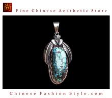 Fine Tibetan Turquoise Coral Gemstone Jewelry 925 Silver Pendant 100% Handcraft #103