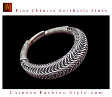 Tribal Silver Cuff Bracelet Chinese Ethnic Hmong Miao Jewelry #217 Unique Handmade