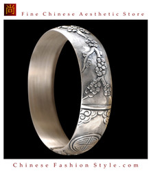 Fine 999 Cuff Bracelet High Purity Sterling Silver Jewelry 100% Handcrafted #126