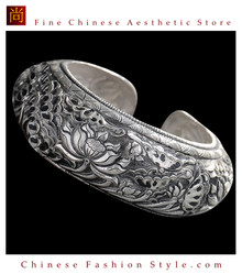 Fine 999 Cuff Bracelet High Purity Sterling Silver Jewelry 100% Handcrafted #130