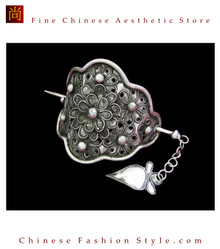 Handmade Silver Hair Accessories Stick Pin Tribal Ethnic Hmong Miao Jewelry #102