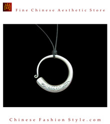 100% Handmade Miao Tribal Silver Pendant Chain Necklace for Women #103
