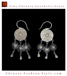 Tribal Silver Earrings Chinese Ethnic Hmong Miao Jewelry #307 Uniquely Handmade