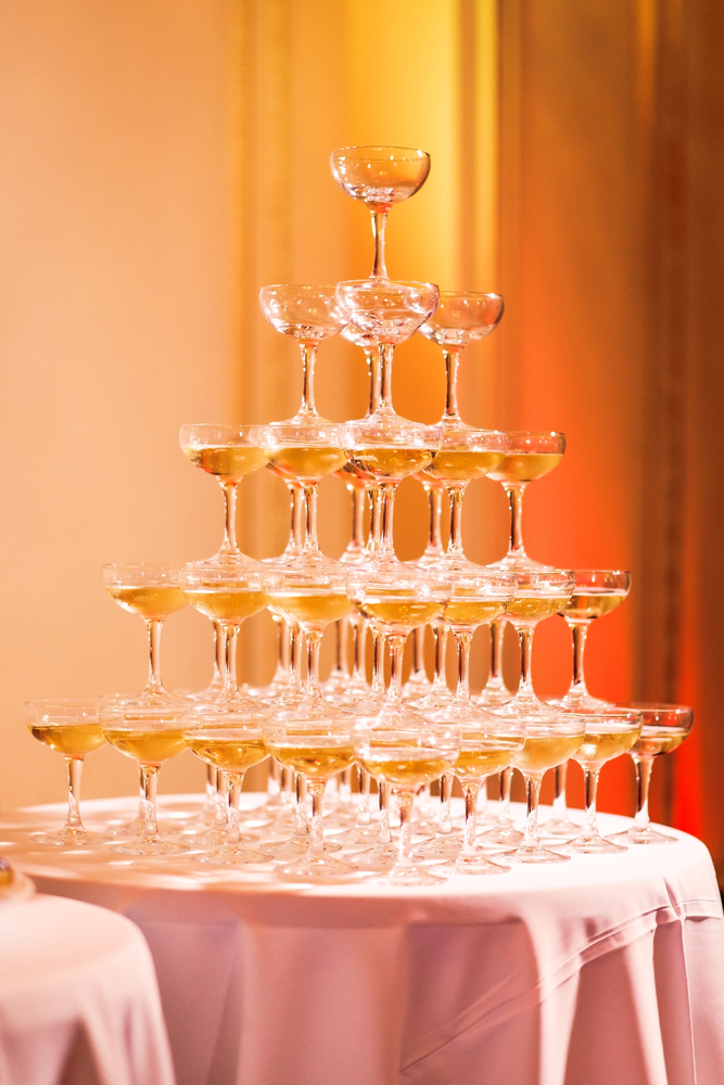 Champagne pyramid for murder mystery party
