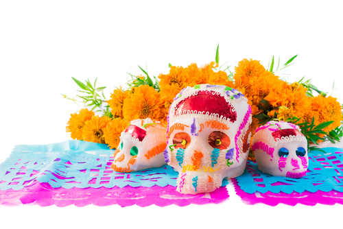 Sugar skull centerpieces for a Mexican fiesta murder mystery