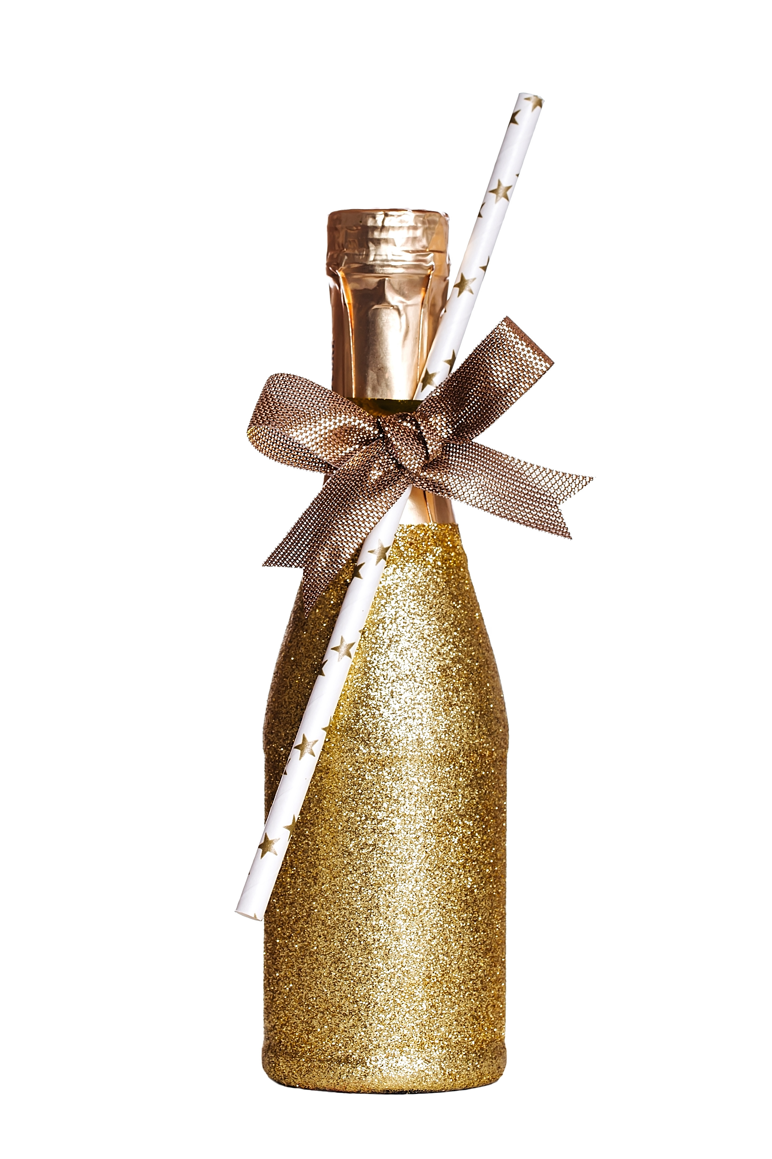 Glitter Champagne bottle for 1920s murder mystery party