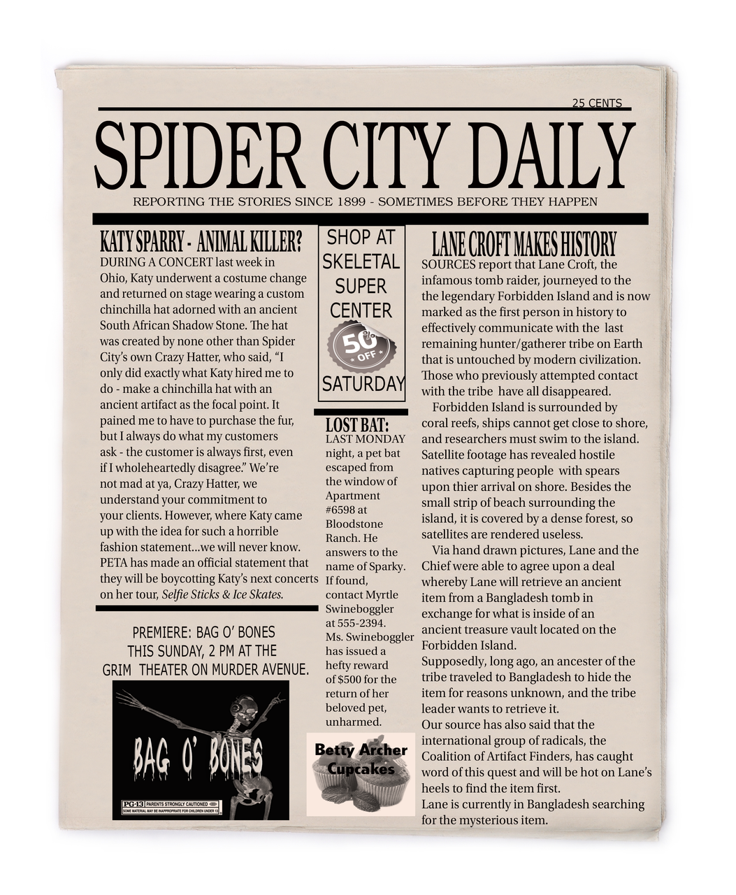 Spider City Daily murder mystery news article