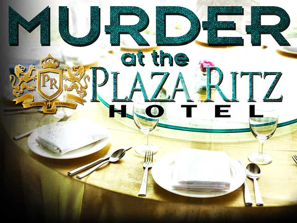 Murder at the Plaza Ritz Hotel mystery game large group corporate-themed mystery party for 50-100+ guests