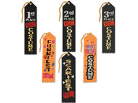 Costume award ribbons for murder mystery party - 6 pack.
