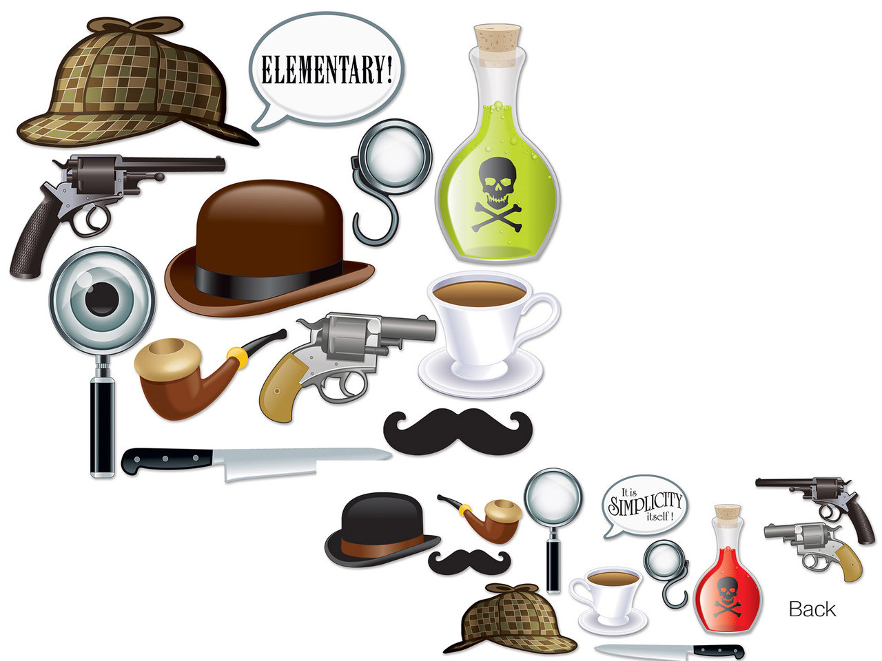 Sherlock Holmes photo props for mystery parties