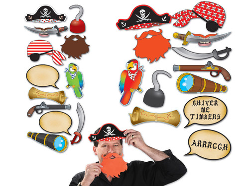 Pirate photo fun props for mystery parties.