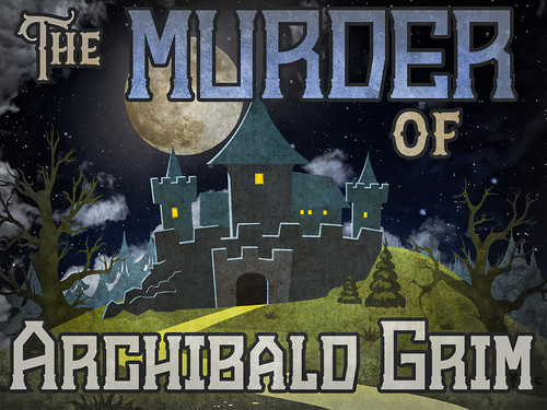 Boxed kit of the Murder of Archibald Grim mystery party for teens.