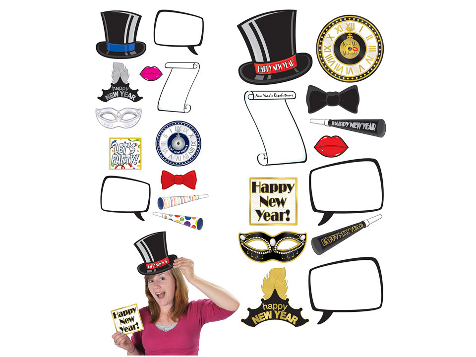 New Year's Eve photo fun props for a mystery party