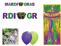 Mardi Gras decor kit for a murder mystery party