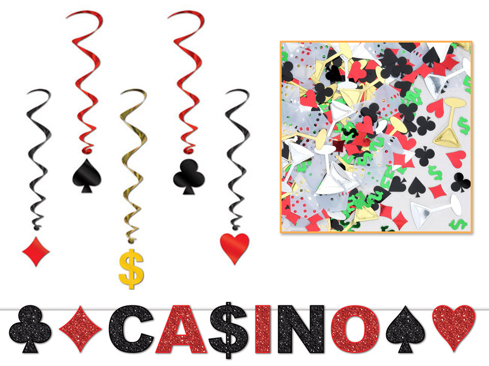 Casino decor kit for a murder mystery party game.