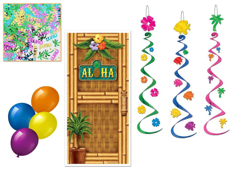 Luau Party Decor Kit for a murder mystery party game.