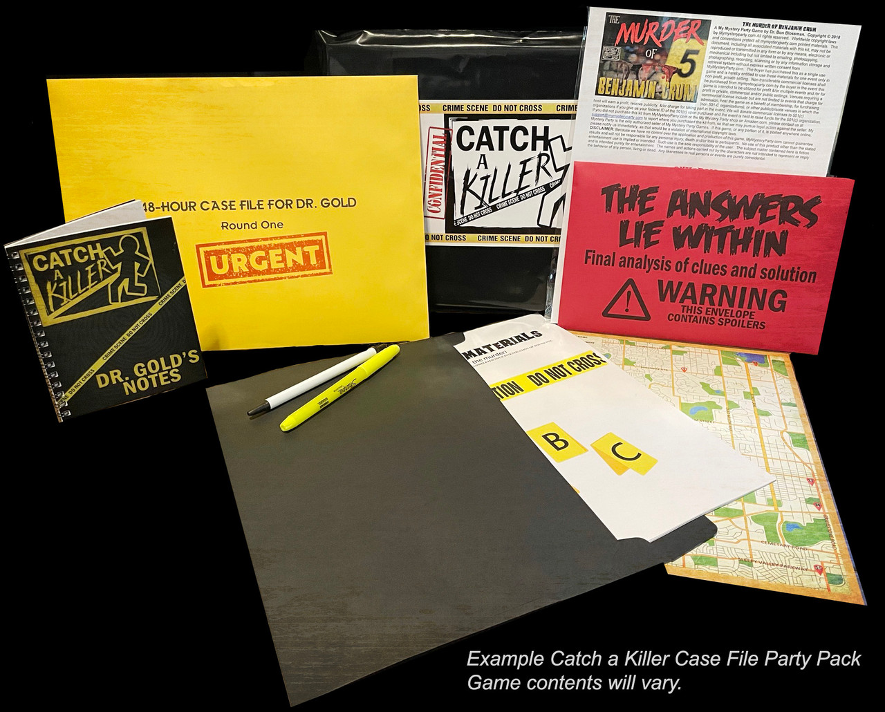 Example Catch a Killer Case file party pack.