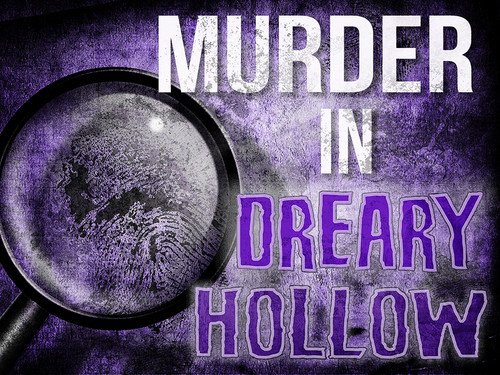 Murder in Dreary Hollow virtual murder mystery game.