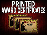 Three printed positive mystery party award certificates