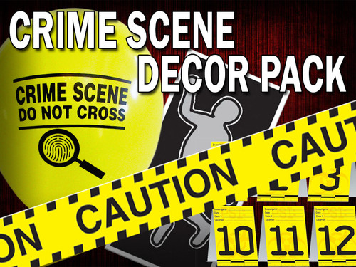 Crime scene decor kit for a murder mystery party