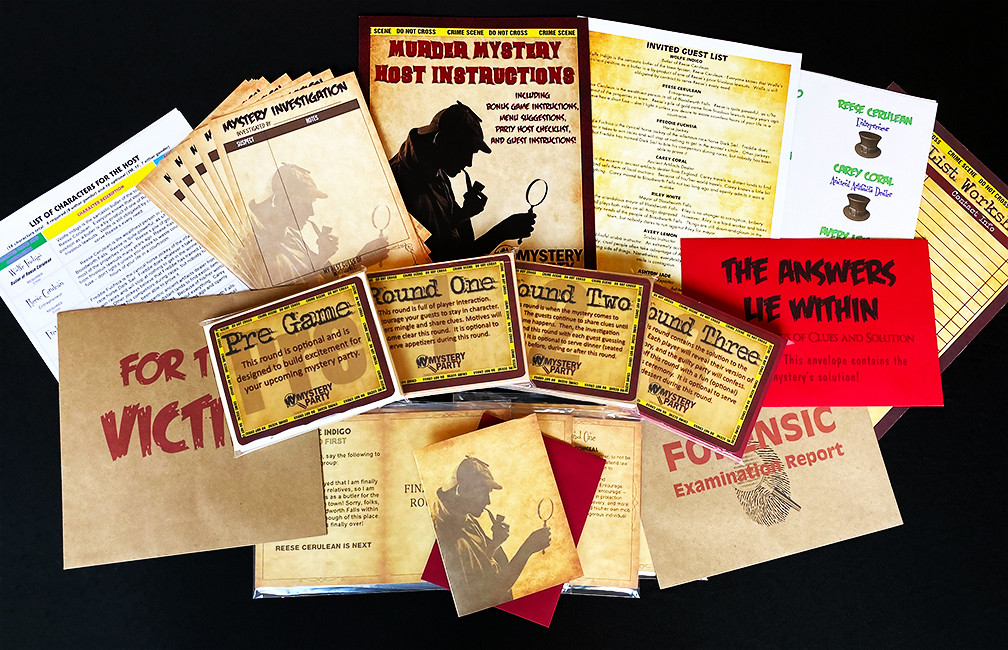 Party ready pack - boxed set for a murder mystery party
