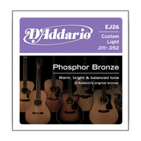 D'Addario, DAEJ26, 11-52, Phosphor, Bronze, Custom, Light, Acoustic, Guitar, Strings