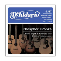 D'Addario, EJ37, 12-54, Phosphor, Bronze, Med, Top/Heavy, Bottom, 12-String, Acoustic, Guitar, Strings