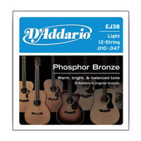 D'Addario, EJ38, 10-47, Phosphor, Bronze, Light, 12-String, Acoustic, Guitar, Strings
