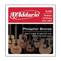 D'Addario, EJ39, 12-52, Phosphor, Bronze, Medium, 12-String, Acoustic, Guitar, Strings
