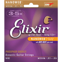 Elixir, Nanoweb, PB, 13-56, Medium, Acoustic, Guitar, Strings