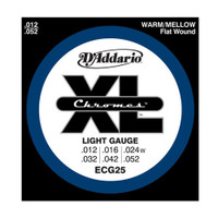 D'Addario, ECG25, 12-52, Chromes, Flat, Wound, Light, Electric, Guitar, Strings