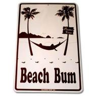 12 Inch x 18 inch Beach Bum Decorative Aluminum Sign