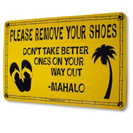 12 Inch x 18 inch Please Remove Your Shoes Decorative Aluminum Sign