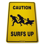 Caution Surfs Up Decorative Aluminum Sign 12 Inch x 18 inch