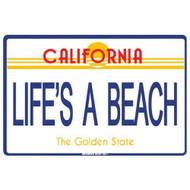 12 Inch x 18 inch Life's A Beach California Surf Decorative Aluminum Sign