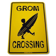 Grom Crossing Surfer Decorative Aluminum Beach Sign 12 Inch x 18 inch