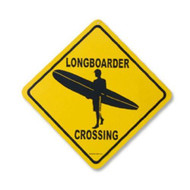 Longboarder Crossing 12 Inch x 12 Inch Decorative Aluminum Street Sign